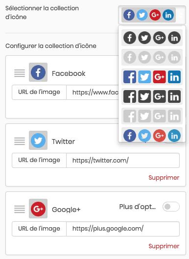 Les boutons réseaux sociaux
